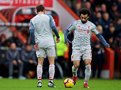 BOURNEMOUTH, ENGLAND - Saturday, December 8, 2018: Liverpool's Adam Lallana (L) with no number on his shirt during the FA Premier League match between AFC Bournemouth and Liverpool FC at the Vitality Stadium. (Pic by David Rawcliffe/Propaganda)