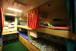 Crew sleeping quarters below deck ahead of sea trials this summer, for the Royal Navy's new aircraft carrier HMS Queen Elizabeth, at Rosyth Dockyard in Dunfermline.