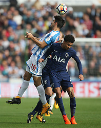 Christopher Schindler of Huddersfield Town (L) and Dele Alli of Tottenham Hotspur in action - Mandatory by-line: Jack Phillips/JMP - 30/09/2017 - FOOTBALL - The John Smith's Stadium - Huddersfield, England - Huddersfield Town v Tottenham Hotspur - English Premier League