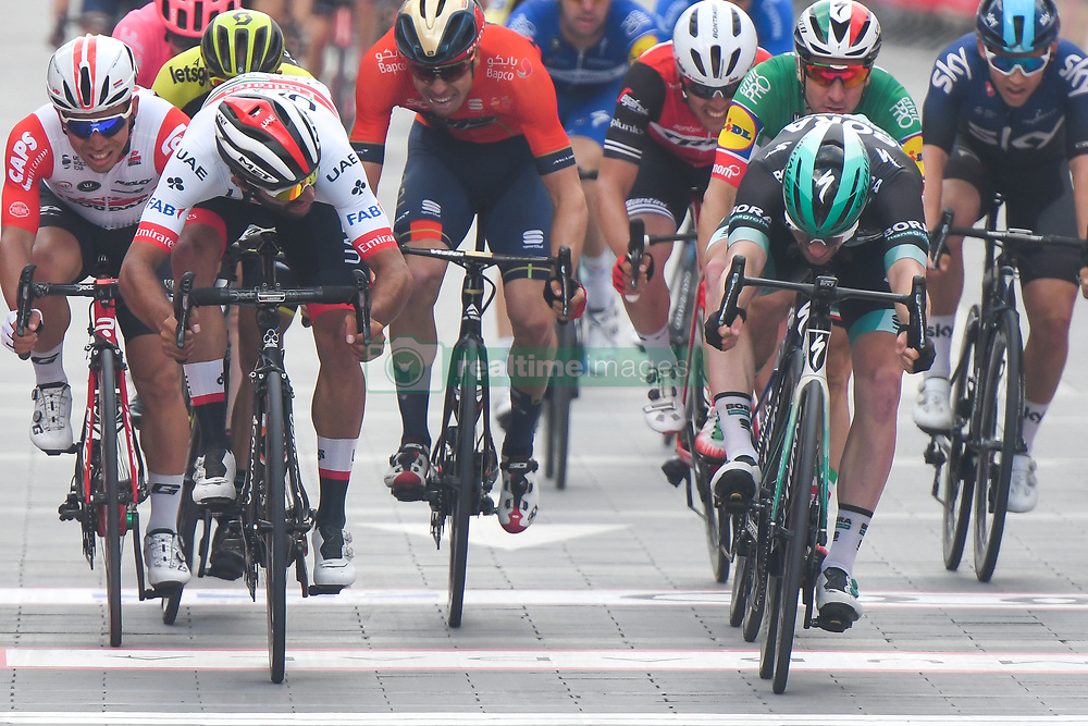March 2, 2019 - Dubai, United Arab Emirates - Ireland's Sam Bennett (Right) from BORA - Hansgrohe Team wins the seventh and final stage - Dubai Stage of the UAE Tour 2019, a 145km with a start from Dubai Safari Park and finish in City Walk area. .On Saturday, March 2, 2019, in Dubai City Walk, Dubai Emirate, United Arab Emirates. (Credit Image: © Artur Widak/NurPhoto via ZUMA Press)