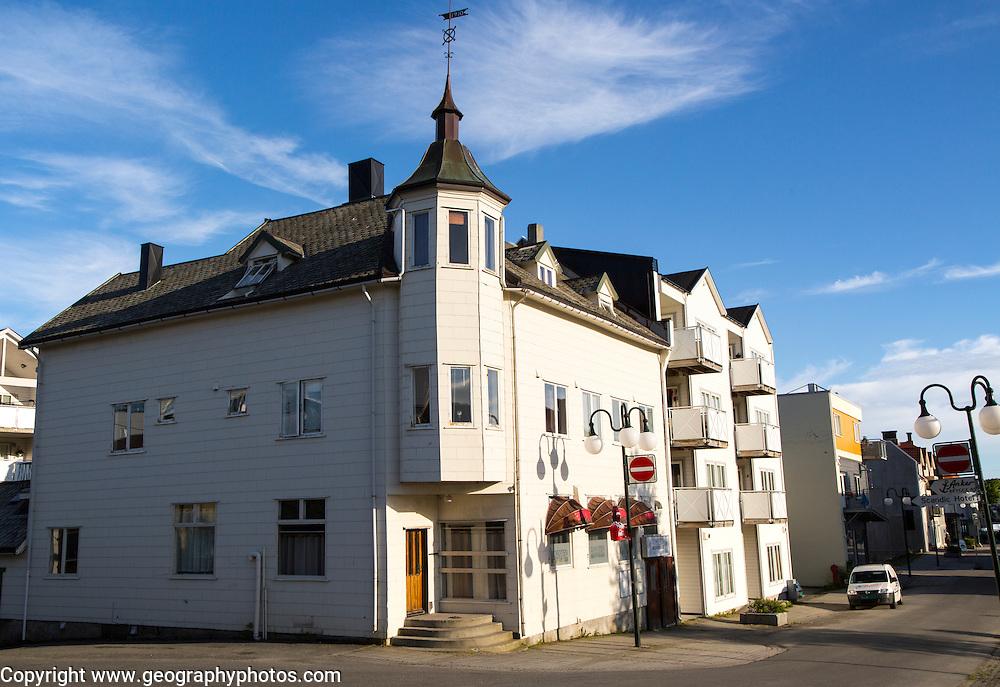 Traditional architecture wooden buildings, Svolvaer, Lofoten Islands, Nordland, Norway