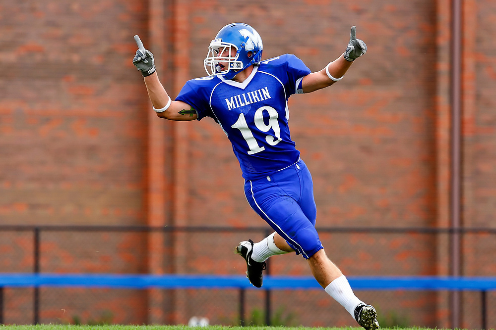 Herald &amp; Review/Stephen Haas<br /> Millikin's Kody Smith (19) celebrates in the endzone after returning a kickoff for a touchdown during a game against Loras College at Frank M. Lindsay Field on the campus of Millikin University Saturday, Sept. 13, 2008, in Decatur, Ill.