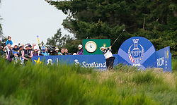 Auchterarder, Scotland, UK. 14 September 2019. Saturday morning Foresomes matches  at 2019 Solheim Cup on Centenary Course at Gleneagles. Pictured; Lizette Salas of USA drives on the 8th hole. Iain Masterton/Alamy Live News