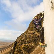 Freyr Ingi Björnsson climbing 55° Búahamrar, Reykjavík, Iceland.