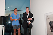 JUERGEN TELLER PRESENTING PRIZE TO WINNER JOHN STEZAKER, The Deutsche Börse Photography Prize 2012. Photographers Gallery. Ramillies Place, London. 3 September 2012.