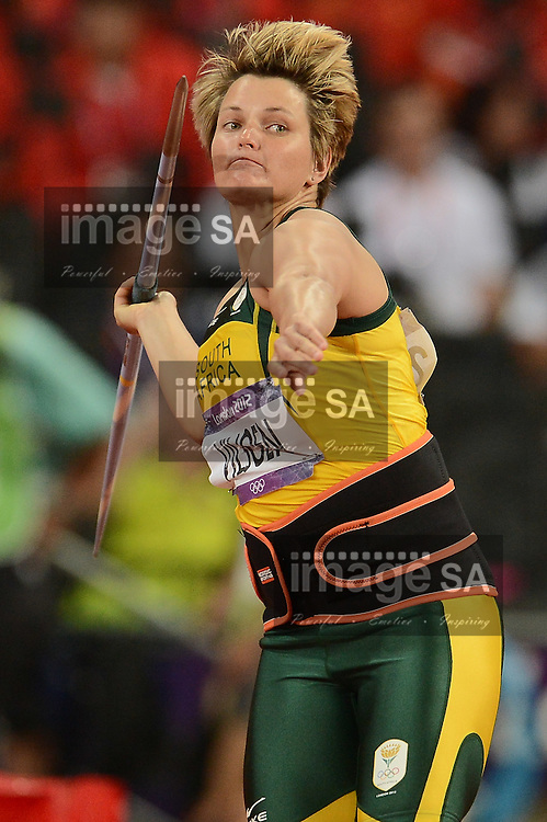 LONDON, ENGLAND - AUGUST 9, Sunette Viljoen of South Africa in the women's javelin during the evening session of athletics at the Olympic Stadium  on August 9, 2012 in London, England.Photo by Roger Sedres / Gallo Images