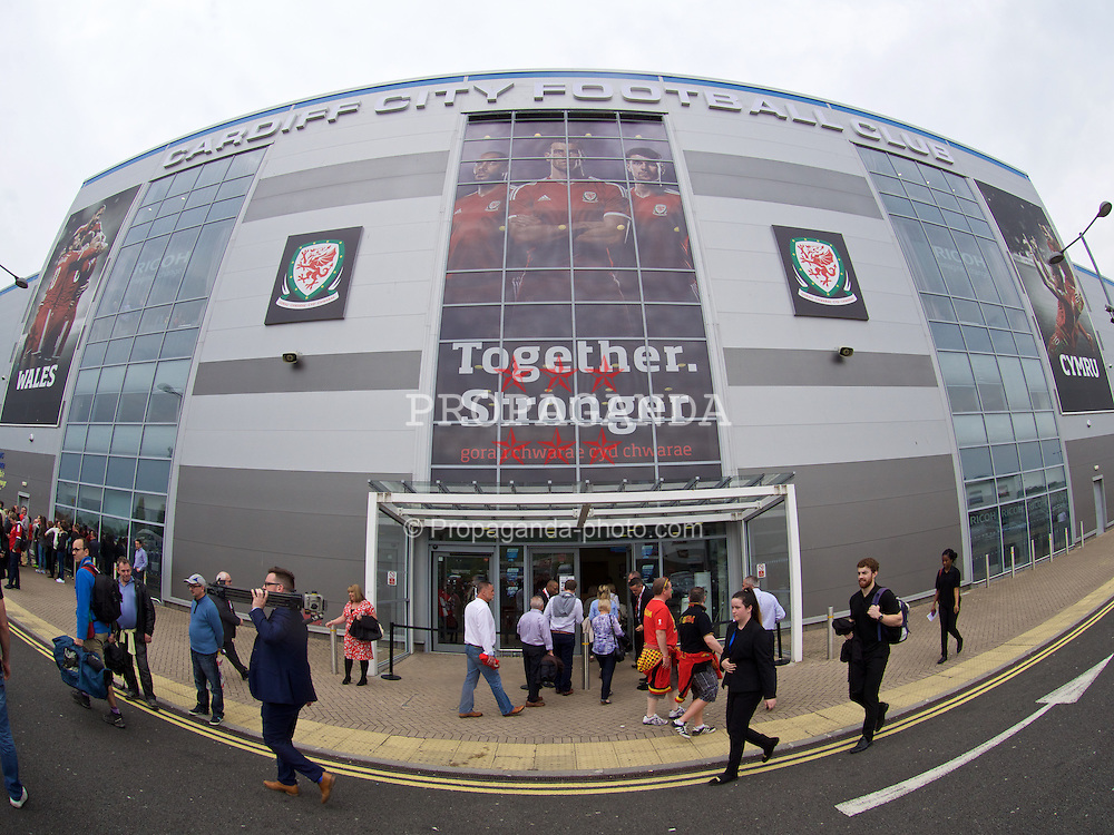 CARDIFF, WALES - Friday, June 12, 2015: Together Stronger branding on the exterior of Cardiff City's stadium before the UEFA Euro 2016 Qualifying Round Group B match against Belgium at the Cardiff City Stadium. (Pic by Ian Cook/Propaganda)