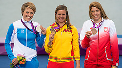 2012 Olympic Games London / Weymouth<br /> RSX Medal Ceremonies<br /> Petaja Tuuli, (FIN, RS:X Women)<br /> Alabau Marina, (ESP, RS:X Women)<br /> Noceti-Klepacka Zofia, (POL, RS:X Women)