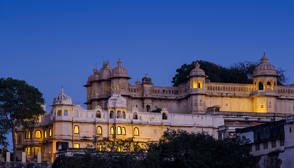 UDAIPUR, INDIA - CIRCA NOVEMBER 2016:  Architectural detail of the City Palace at night in Udaipur