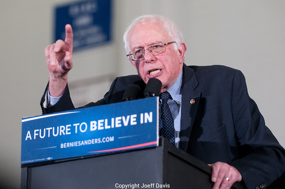 """February 17, 2016 - Atlanta, Georgia: Approximately 5,000 people packed Morehouse College's Forbes Arena on Tuesday night to rally for Bernie Sanders' campaign against Hillary Clinton for the Democratic presidential nomination. The Vermont senator was joined by local musician and businessman Killer Mike, one of the candidate's most vocal and high-profile supporters, and others to kick off the campaign's """"Feel the Bern HBCU"""" tour to build support among young black voters."""