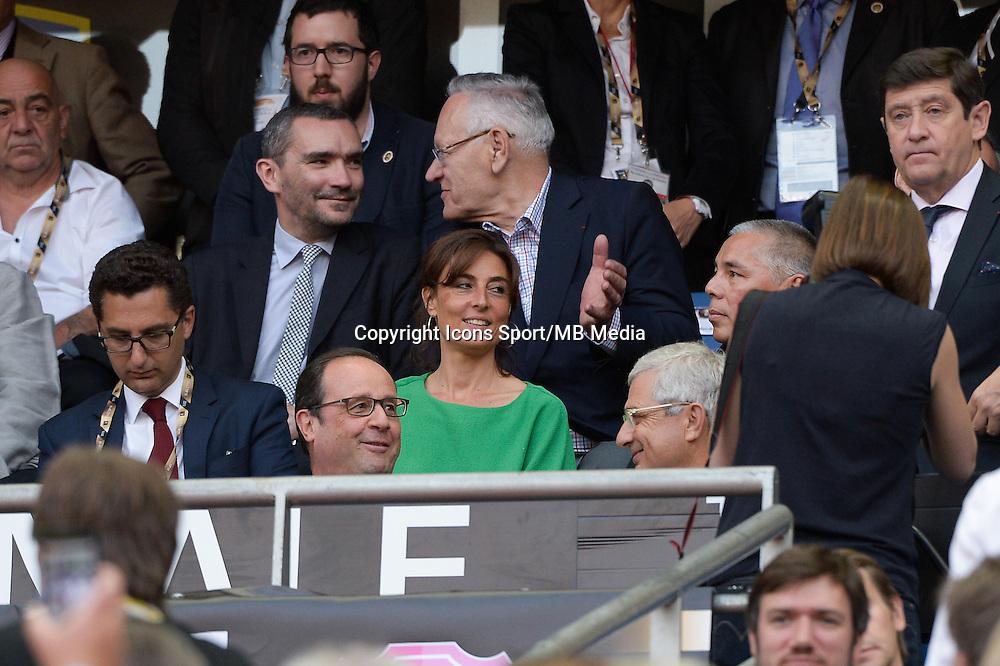 Maxime Saada / Francois HOLLANDE / Claude BARTOLONE / Nathalie IANNETTA  - 13.06.2015 - Clermont / Stade Francais - Finale Top 14<br />Photo : Nolwenn Le Gouic / Icon Sport