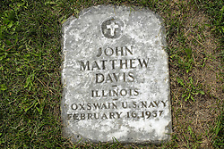 31 August 2017:   Veterans graves in Park Hill Cemetery in eastern McLean County.<br /> <br /> John Matthew Davis Illinois Coxwain US Navy  February 16 1937