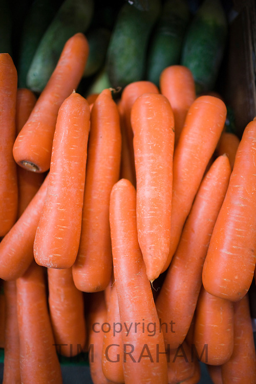 Carrots on sale in old Soho food market in Graham Street, Central Hong Kong, China