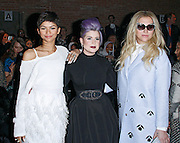 Zendaya, Kelly Osbourne and Kesha appear in the front row at Christian Siriano during the Mercedes-Benz Fall/Winter 2015 shows at Artbeam in New York City, New York on February 14, 2015.