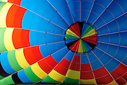The inside of a colorful hot air balloon.