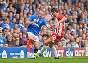 Ben Davies and Adam Buxton during the Sky Bet League 2 match between Portsmouth and Accrington Stanley at Fratton Park, Portsmouth, England on 5 September 2015. Photo by Adam Rivers.