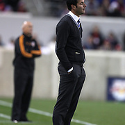 New York Red Bulls coach Mike Petke on the sideline during his sides shock loss during the New York Red Bulls V Houston Dynamo, Major League Soccer second leg of the Eastern Conference Semifinals match at Red Bull Arena, Harrison, New Jersey. USA. 6th November 2013. Photo Tim Clayton