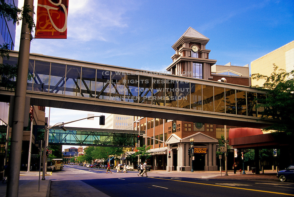 Image of downtown Spokane with skybridges, Spokane, Washington, Pacific Northwest