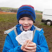 Cathal Scanlon with his 3 bets placed for the East Clare Harriers 2015 Killaloe point to point