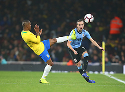 November 16, 2018 - London, England, United Kingdom - London, England - November 16, 2018.Diego Laxalt of Uruguay .during Chevrolet Brazil Global Tour International Friendly between Brazil and Uruguay at Emirates stadium , Arsenal Football Club, England on 16 Nov 2018. (Credit Image: © Action Foto Sport/NurPhoto via ZUMA Press)