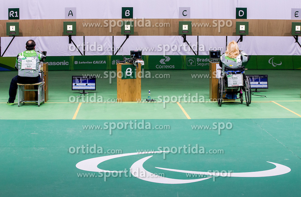 Second placed Francek Gorazd Tirsek - Nani of Slovenia and winner Veselka Pevec of Slovenia at last shot during Final of R4 - Mixed 10m Air Rifle Standing SH2 on day 3 during the Rio 2016 Summer Paralympics Games on September 10, 2016 in Olympic Shooting Centre, Rio de Janeiro, Brazil. Photo by Vid Ponikvar / Sportida
