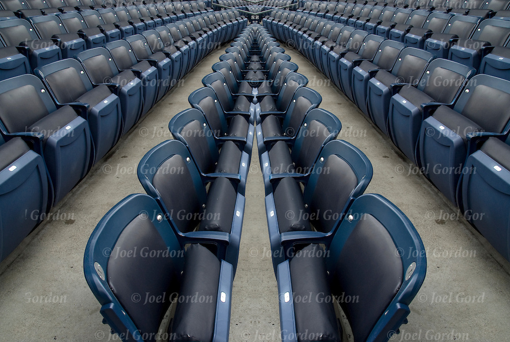 Repeating rows of seats in Yankee Stadium, Bronx New York.<br />