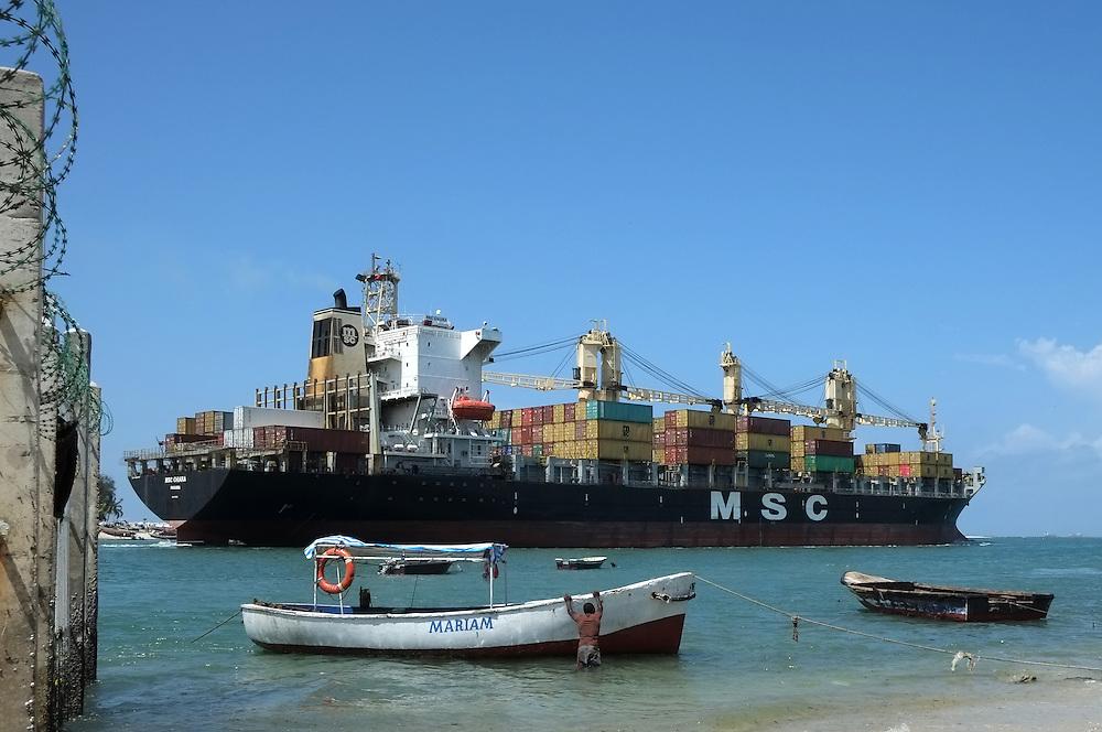 Dar es Salaam, Tanzania - 18DEC13 - The Panama-flagged MSC Chiara container ship leaves the port of Dar es Salaam, Tanzania on December 18, 2013.  Photo by Daniel Hayduk