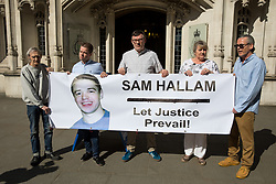 "© Licensed to London News Pictures. 08/05/2018. London, UK. (L-R) Paddy Hill of the Birmingham 6, Sam Hallam, Paul McLaughlin, co-project manager at Miscarriages Of Justice Organisation (MOJO), Hallam's mother Wendy Cohen, and Patrick Maguire of the Maguire 7 arriving at the Supreme court to support Sam Hallam who is appealing for ""miscarriage of justice"" compensation. Hallam spent over seven years in jail after he was wrongly sentenced to life in 2005 for a gang-related murder in north London that he did not commit. Photo credit : Tom Nicholson/LNP"