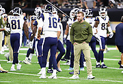 Nov 4, 2018; New Orleans, LA, USA: Los Angeles Rams head coach Sean McVay talks to his quarterback Jared Goff (16) before playing the New Orleans Saints at the Mercedes-Benz Superdome. The Saints beat the Rams 45-35. (Steve Jacobson/Image of Sport)