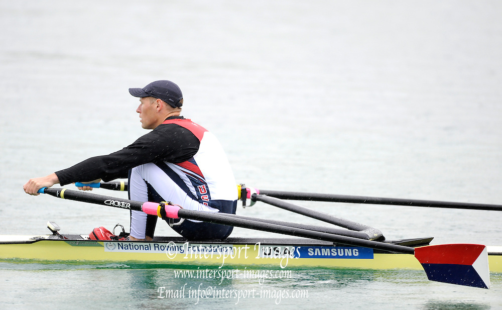 Munich, GERMANY, USA M1X. Kenneth JURKOWSKI, during the Heats, time trial at the FISA World Cup on the Munich Olympic Rowing Course, Friday  27/05/2011  [Mandatory Credit Peter Spurrier/ Intersport Images].