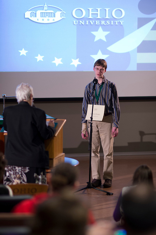 Spencer Brooks spells his word during the Columbus Metro Regional Spelling Bee Regional Saturday, March 16, 2013. The Regional Spelling Bee was sponsored by Ohio University's Scripps College of Communication and held in Margaret M. Walter Hall on OU's main campus.