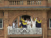 .Sport - Cricket - 22/06/02.Photo Peter Spurrier.Benson & Hedges - Final Lords Essex vs Warwickshire.The Warwickshire balcony as Dougie brown strikes the winning runs. [Mandatory Credit: Peter Spurrier:Intersport Images]