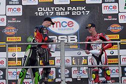 #4 Dan Linfoot Honda Racing MCE British Superbike Championship  #91 Leon Haslam JG Speedfit Kawasaki MCE British Superbike Championship  #28 Brad Ray Buildbase Suzuki MCE British Superbike Championship  Podium