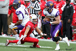 03 October 2015:  Tim Kilfoy(24) makes a cut that sends Bryce Jefferson(35)) into a skid. NCAA FCS Football between Northern Iowa Panthers and Illinois State Redbirds at Hancock Stadium in Normal IL (Photo by Alan Look)