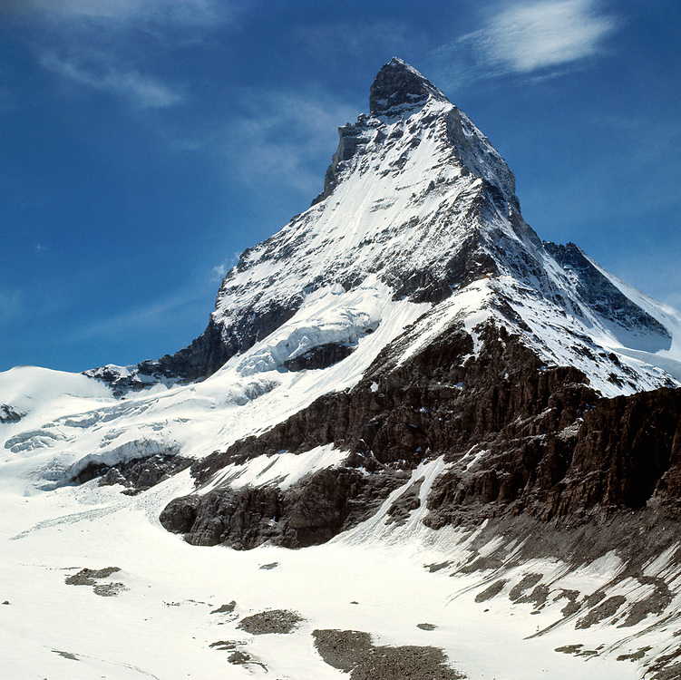 Switzerland's most iconic mountain, the 14,692 ft Matterhorn, draws tourists from all parts of the world to the famous alpine village of Zermatt.
