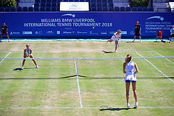 LIVERPOOL, ENGLAND - Sunday, June 24, 2018: Marion Bartolli (FRA) and Ellie Tsimbilakis (GBR) during day four of the Williams BMW Liverpool International Tennis Tournament 2018 at Aigburth Cricket Club. (Pic by Paul Greenwood/Propaganda)