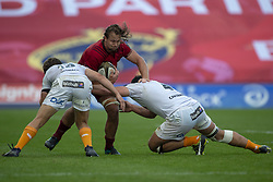 September 1, 2018 - Limerick, Ireland - Arno Botha of Munster tackled by Benhard Janse van Rensburg and Justin Basson of Cheetahs during the Guinness PRO14 rugby match between Munster Rugby and Toyota Cheetahs at Thomond Park Stadium in Limerick, Ireland on September 1, 2018  (Credit Image: © Andrew Surma/NurPhoto/ZUMA Press)
