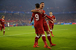 SEVILLE, SPAIN - Tuesday, November 21, 2017: Liverpool's Roberto Firmino celebrates scoring the first goal with team-mate Dejan Lovren during the UEFA Champions League Group E match between Sevilla FC and Liverpool FC at the Estadio Ramón Sánchez Pizjuán. (Pic by David Rawcliffe/Propaganda)