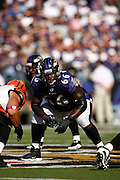 BALTIMORE, MD - OCTOBER 11: Ben Grubbs #66 of the Baltimore Ravens lines up to block against the Cincinnati Bengals at M&T Bank Stadium on October 11, 2009 in Baltimore, Maryland. The Bengals defeated the Ravens 17-14. (Photo by Joe Robbins) *** Local Caption *** Ben Grubbs