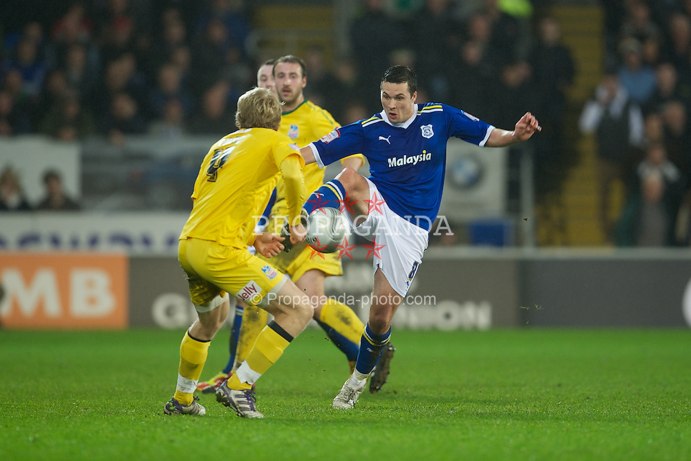 CARDIFF, WALES - Tuesday, January 24, 2012: Cardiff City's Don Cowie in action against Crystal Palace during the Football League Cup Semi-Final 2nd Leg at the Cardiff City Stadium. (Pic by David Rawcliffe/Propaganda)