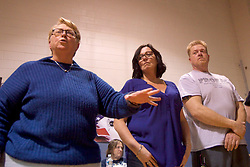 A group of leaders from the local community speaks out against the plans for a safe injection site at a community meeting with representatives of SafeHouse at Heitzman Rec center, on Thursday. (Bastiaan Slabbers for WHYY)