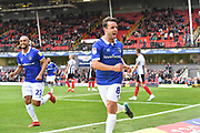 Oldham Athletic midfielder Jose Baxter (8) celebrates scoring goal to go 0-3 during the EFL Sky Bet League 2 match between Grimsby Town FC and Oldham Athletic at Blundell Park, Grimsby, United Kingdom on 15 September 2018.