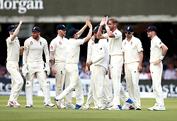 Stuart Broad of England celebrates with teammates after taking the wicket of JP Duminy of South Africa - Mandatory by-line: Robbie Stephenson/JMP - 07/07/2017 - CRICKET - Lords - London, United Kingdom - England v South Africa - Investec Test Series