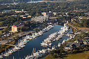 Aerial view of Ripley Point Marina Charleston, South Carolina.