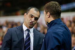 Everton Manager Roberto Martinez is greeted by Tottenham Hotspur Manager Mauricio Pochettino - Photo mandatory by-line: Rogan Thomson/JMP - 07966 386802 - 30/11/2014 - SPORT - FOOTBALL - London, England - White Hart Lane - Tottenham Hotspur v Everton - Barclays Premier League.