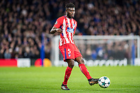 LONDON,ENGLAND - DECEMBER 05: Atletico Madrid (5) Thomas Partey during the UEFA Champions League group C match between Chelsea FC and Atletico Madrid at Stamford Bridge on December 5, 2017 in London, United Kingdom.  <br /> ( Photo by Sebastian Frej / MB Media )