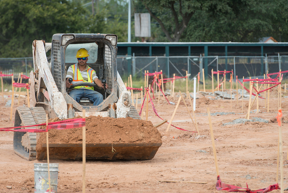 Construction crews work at Worthing High School, October 29, 2014.