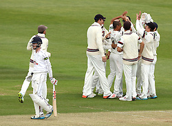 Somerset's Alfonso Thomas celebrates the wicket of Hampshire's Sean Terry - Photo mandatory by-line: Robbie Stephenson/JMP - Mobile: 07966 386802 - 22/06/2015 - SPORT - Cricket - Southampton - The Ageas Bowl - Hampshire v Somerset - County Championship Division One