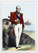 Edmund Lyons, lst Baron Lyons (1790-1858) British naval commander, 1857. Rear-Admiral of British fleet in Black Sea during Crimean (Russo-Turkish) War 1853-56. Coloured lithograph