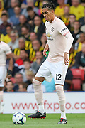 Manchester United Defender Chris Smalling during the Premier League match between Watford and Manchester United at Vicarage Road, Watford, England on 15 September 2018.